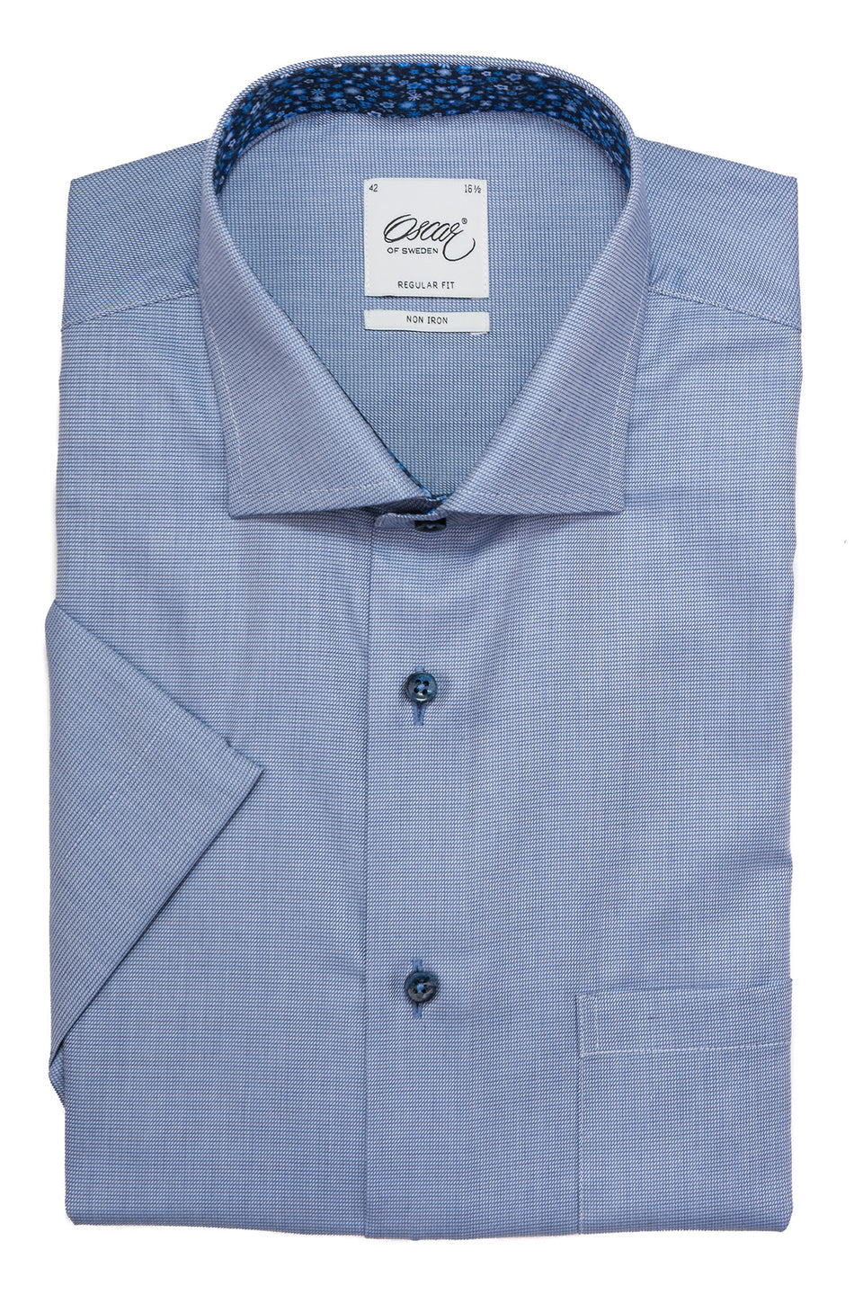 Blue regular fit short sleeve shirt with contrast