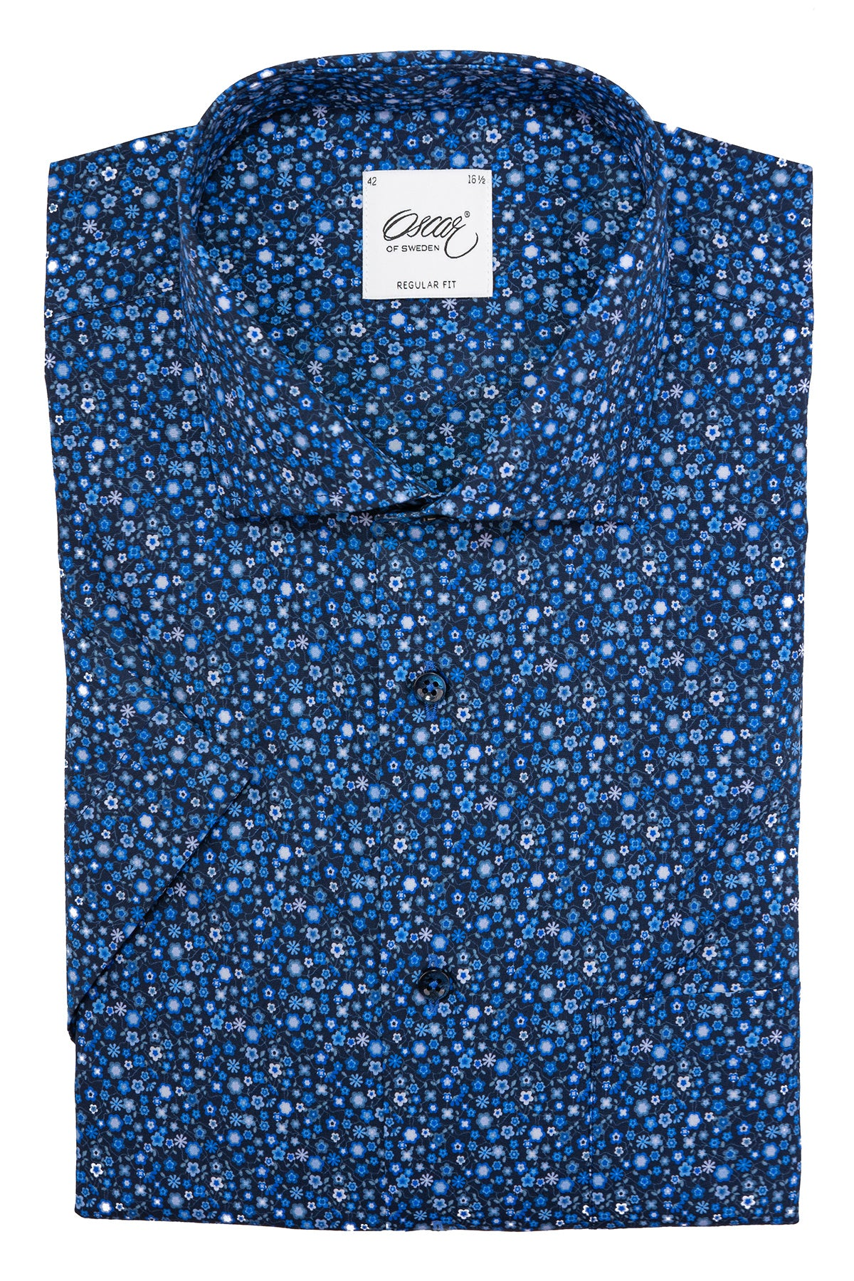 Blue flower printed regular fit short sleeve shirt