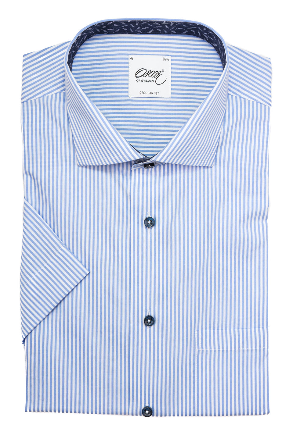 Light blue striped regular fit short sleeve shirt with contrast