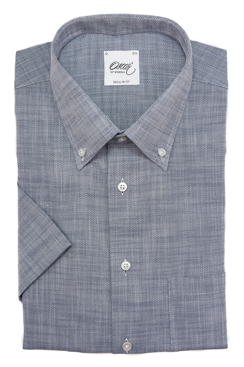 Indigo blue regular fit button down short sleeve shirt
