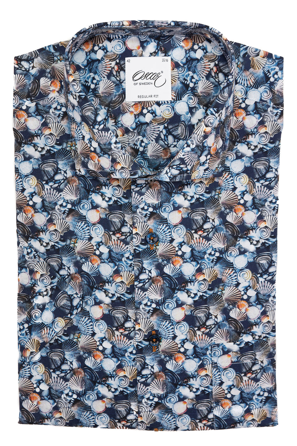 Blue printed regular fit short sleeve shirt