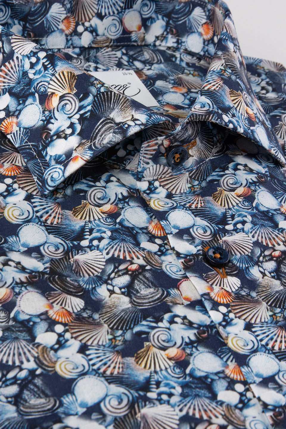 Blue printed slim fit short sleeve shirt