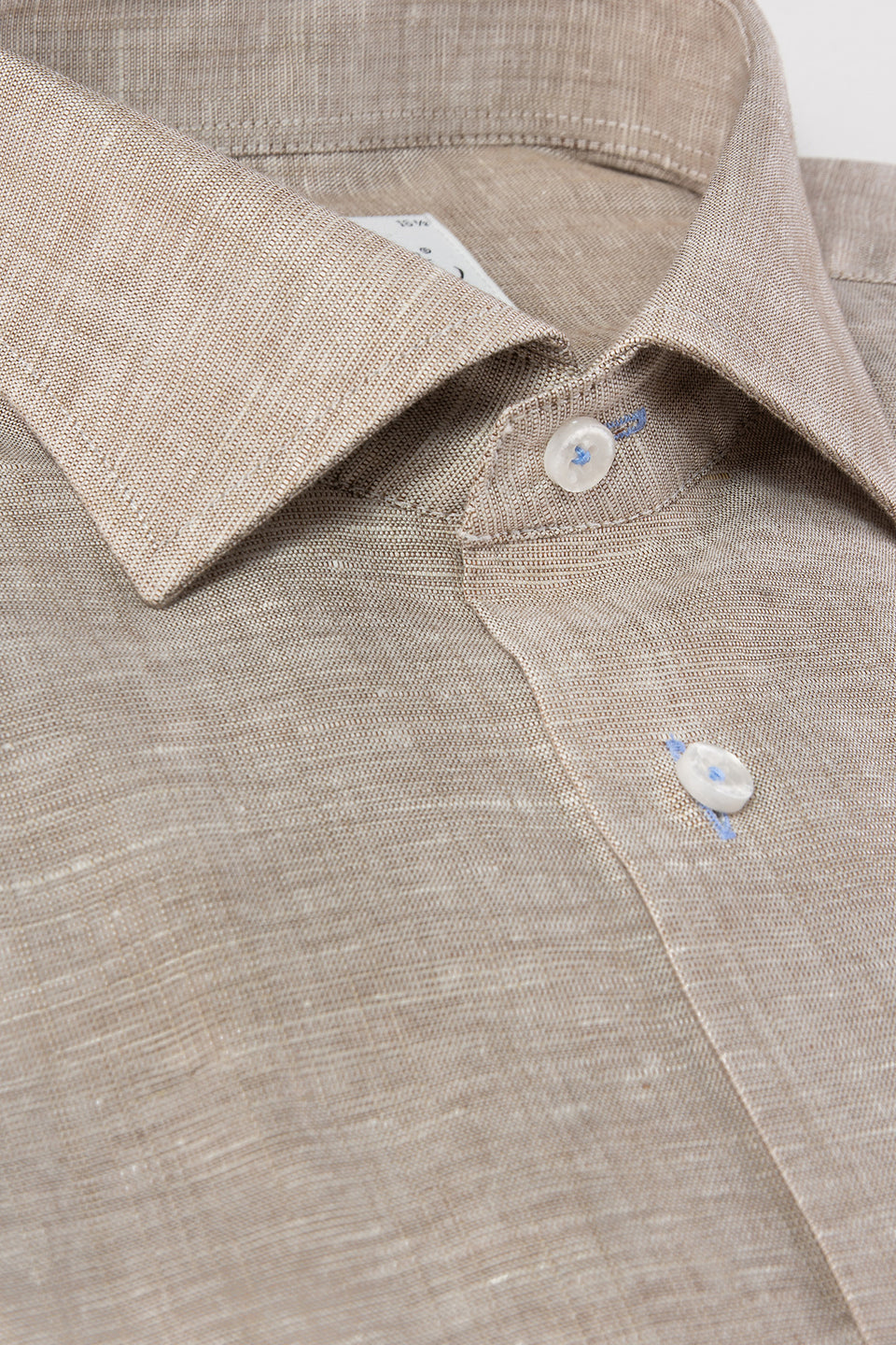 Brown linen regular fit short sleeve shirt