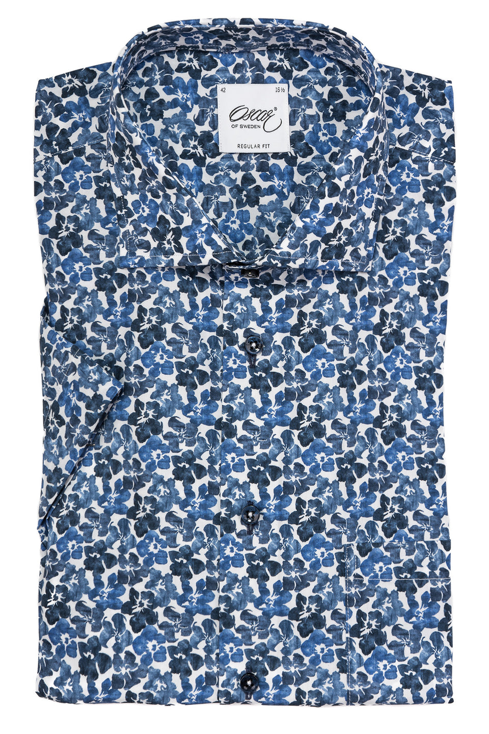 Blue flower printed short sleeve regular fit shirt