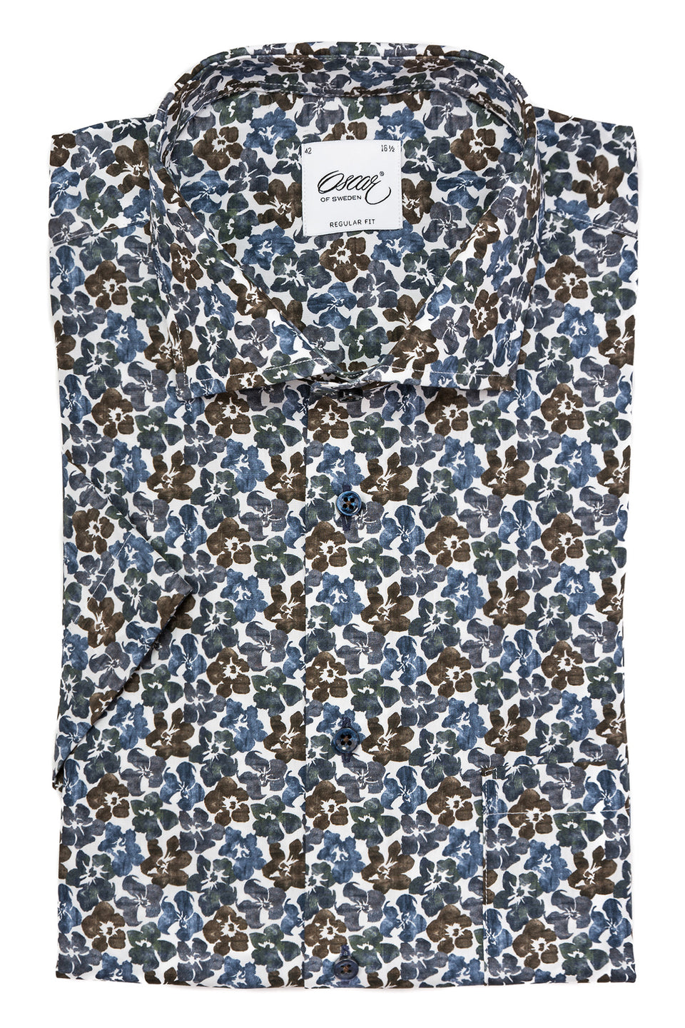 Flower printed short sleeve regular fit shirt