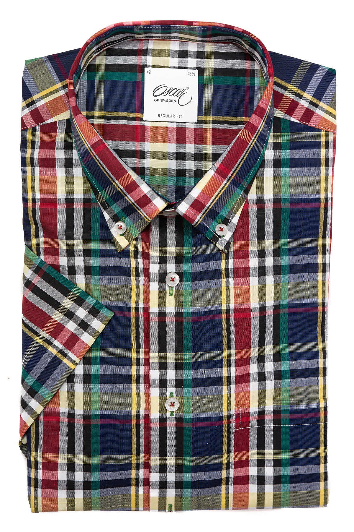 Checked regular fit button down short sleeve shirt