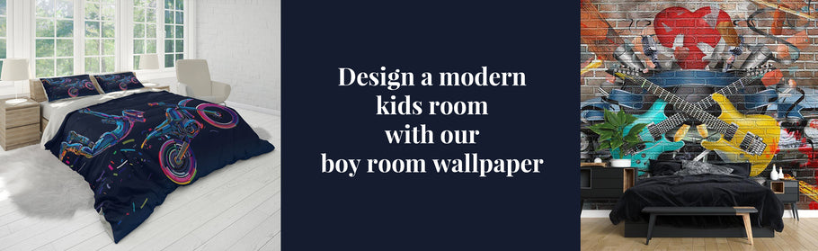 Design a modern kids room with our boy room wallpaper and boy wallpaper murals