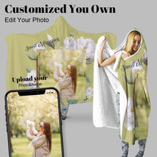 Load image into Gallery viewer, Christmas Elk Snowing Kids Cartoon Blue Personalized Hooded Throw Blanket Fleece Hoodie Cape