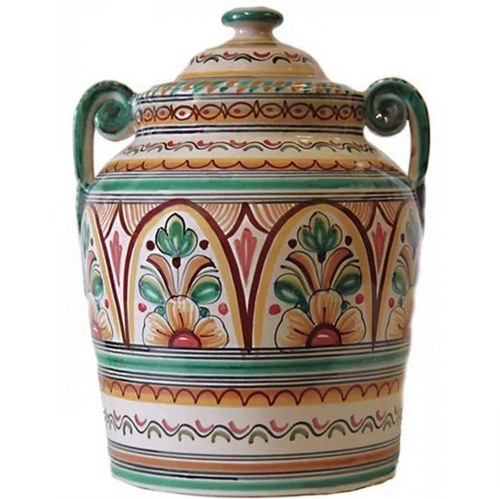 A large, lidded urn style canister hand painted with shades of greens, golds and soft reds.  From Spain.