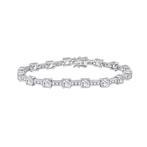 a stunning tennis bracelet featuring channel set cubic zirconia and stations of asscher cut stones.  set in sterling silver, platinum plated.
