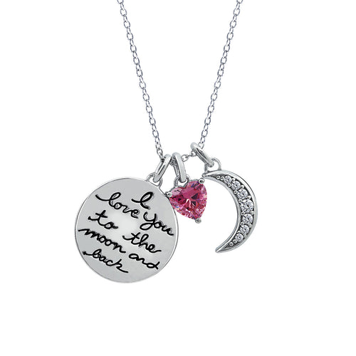 sterling silver I love you to the moon and back necklace.  pink heart charm, pavé moon charm, disc charm engraved with