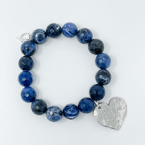 12mm Sodalite Beaded stretch bracelet with hammered silver plated charm, choice of Average or Large