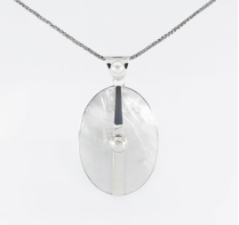 Mother of Pearl Pendant on an Adjustable 18 to 20 Bali Spiga Chain