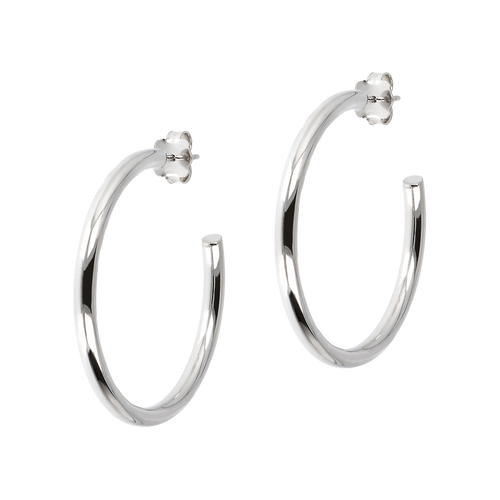 Classic sterling silver hoop earring for pierced ears.  smooth and shiny, with butterfly clutch backs  1.5