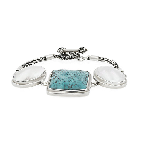 Artisan Crafted Turquoise and Mother of Pearl Bracelet, Claudia Agudelo , Toggle Closure