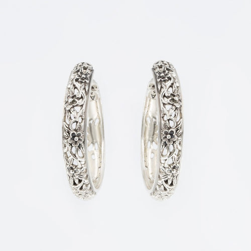 Floral Sterling Silver Hoop Earrings by Claudia Agudelo, post and clutch