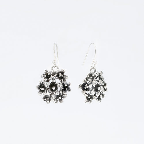 Artisan Crafted Floral Bouquet Silver Earrings