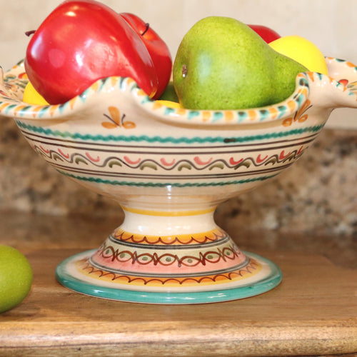 Hand painted fruit bowl in shades of greens, golds and soft, pinkish reds.  From spain. by just jill.