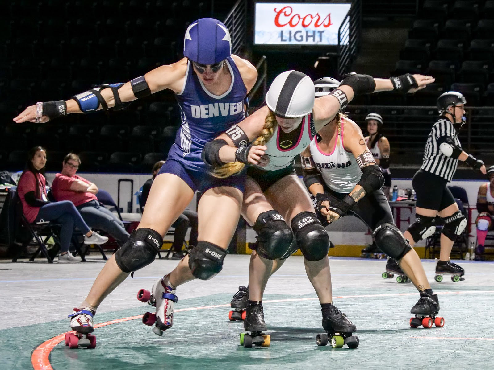 A more recent edit from Anja from a matchup between Denver Roller Derby and Arizona Roller Derby at WFTDA Playoffs in Seattle, 2019. Far less gritty but equally powerful and dramatic with more natural skin tones. If you take a closer look at Denver Roller Derby's jammer Scald Eagle's upper arms, shoulders and legs you see the same display of power & strength in the muscles as in the older edit. We like this new style! ©Anja Wettergren