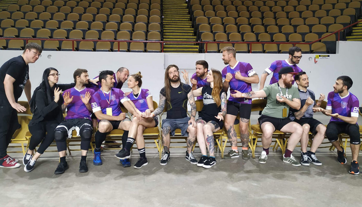 """This team is clearly having some fun! The Manneken Beast """"(…) enjoying their last moments on earth before facing GateKeepers Roller Derby… """" during Midwest BrewHaHa in June. photo by Trick or Threat"""