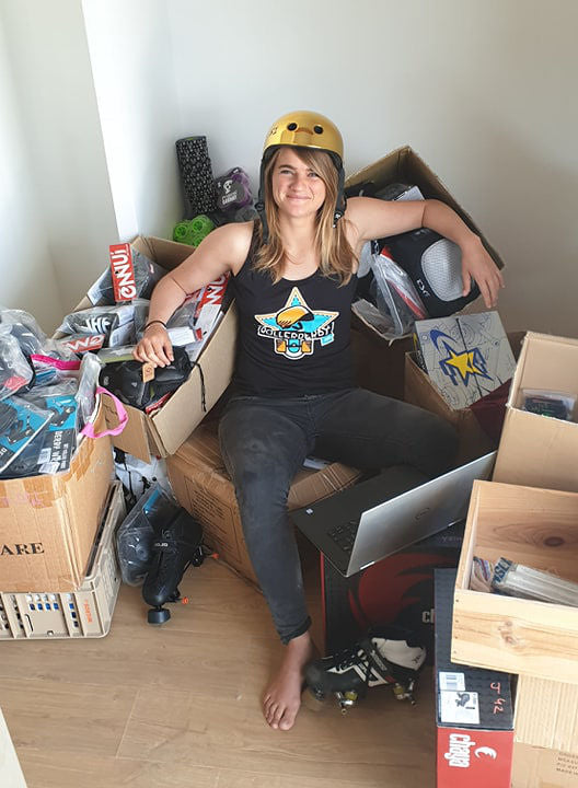 Meet Dédé – tired but happy manager of Myrollerderby after setting up shop in Sciez, France.