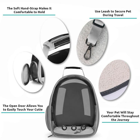 black clear bubble cat backpack features