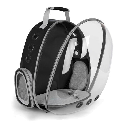 black clear bubble cat backpack front open