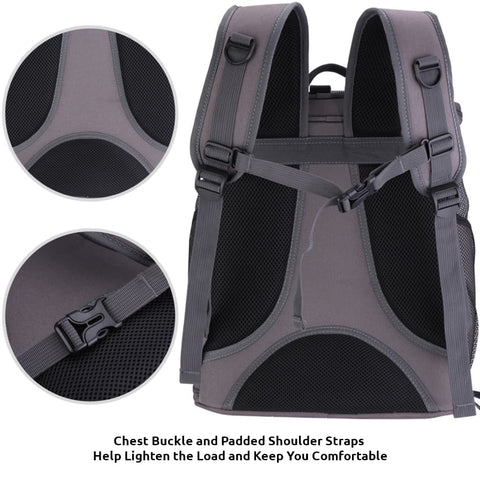 dark gray fat cat backpack back features close-up