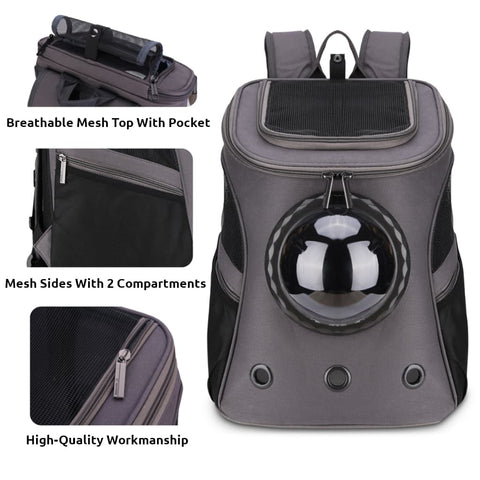 dark gray fat cat backpack front features close-up