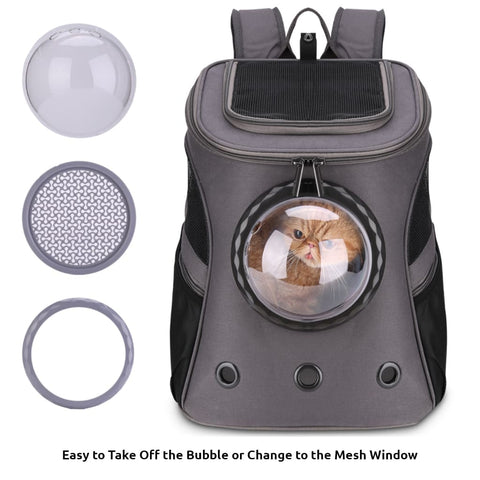 dark gray fat cat backpack with accessories