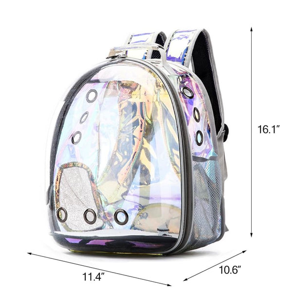 holographic cat bubble backpack size chart