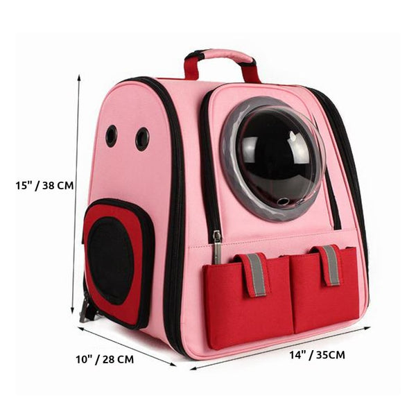 pink canvas bubble cat backpack size chart