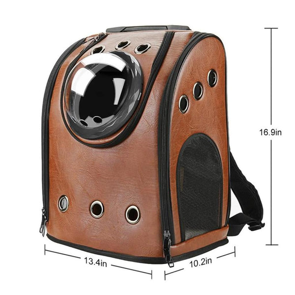 saddle brown leather bubble cat backpack size chart
