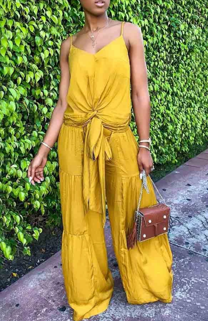 Wide leg pants with cami top