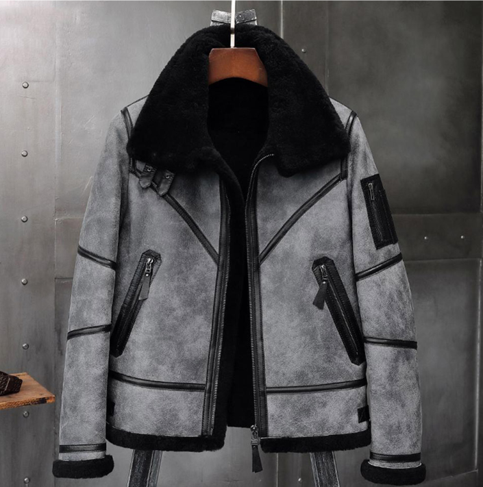 Lapel sheepskin jacket