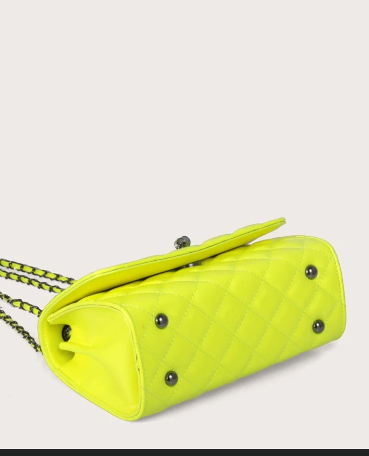 Neon yellow chain link shoulder bag