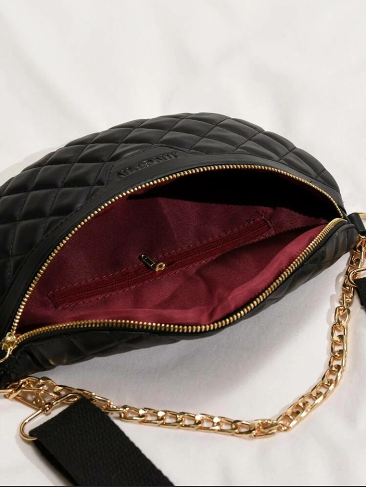 Quilted faux leather fanny pack