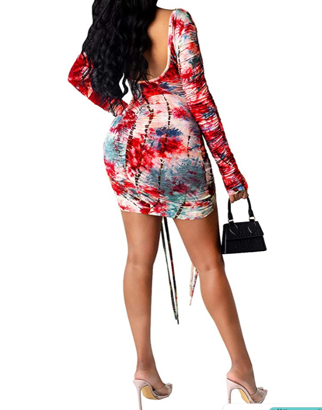 Bodycon Drawstring mini dress