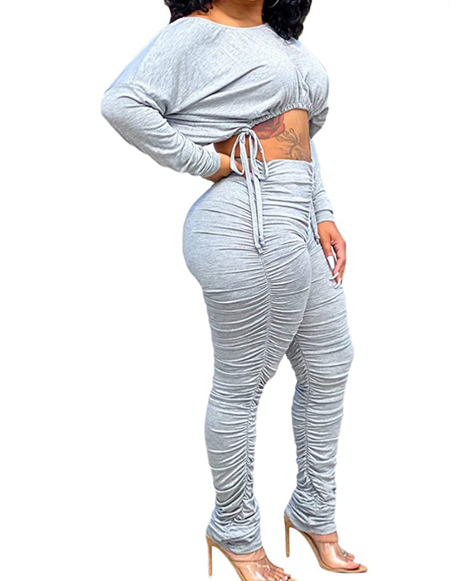 Royally stacked pants and crop top set