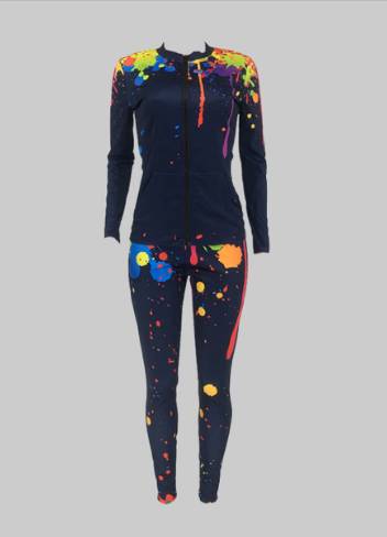 Paint splash jacket and legging