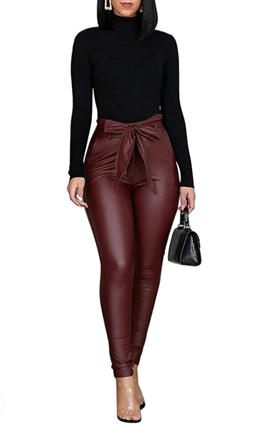 Leather casual pull on pants w/ belt