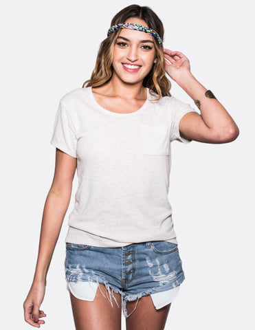 Sand Short Sleeve Basic with Pocket