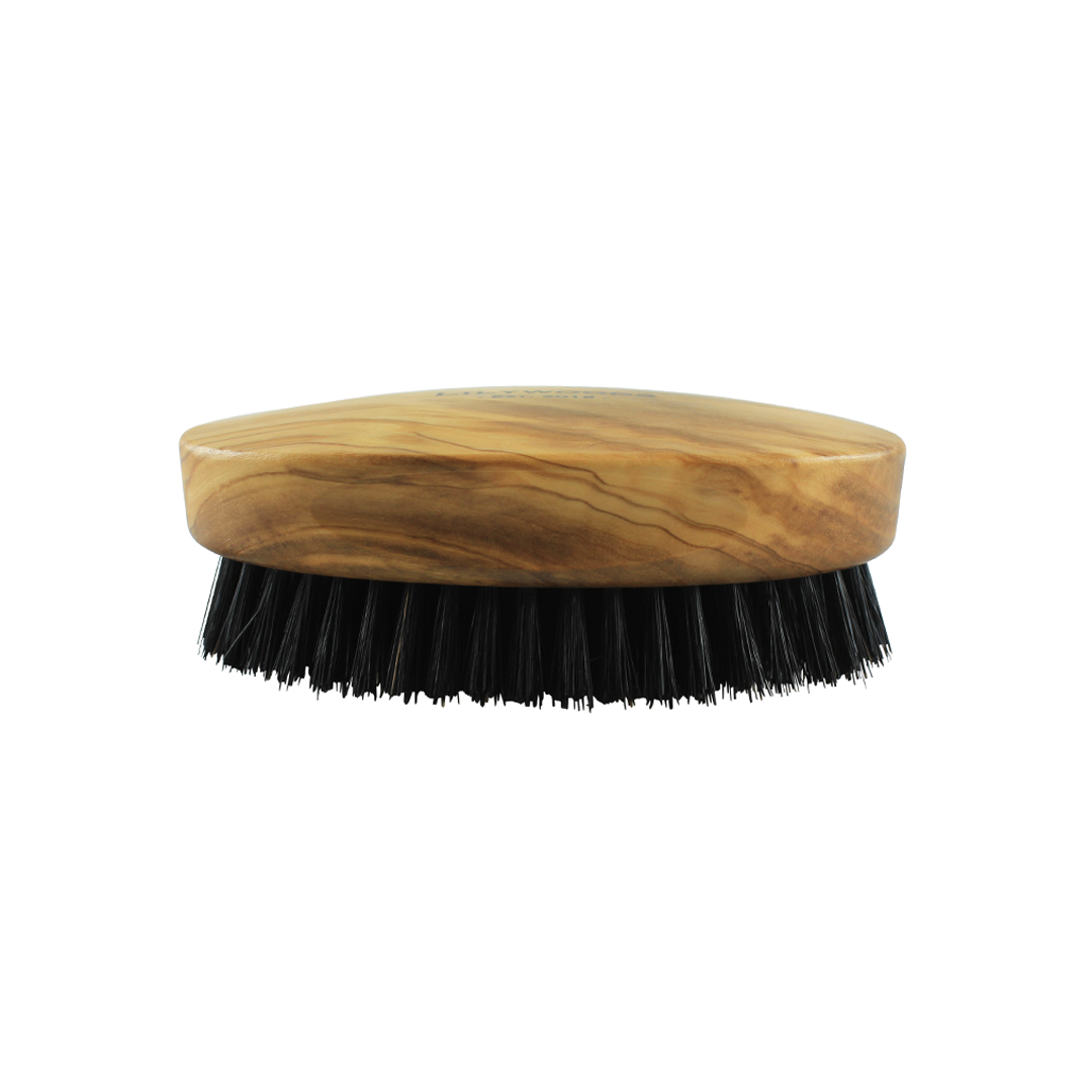Military Style Olive Wood Boar Bristle Beard and Hair Brush