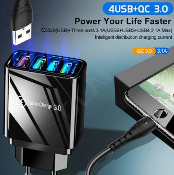 Quick Wall Charger - US - 4 Port - LED