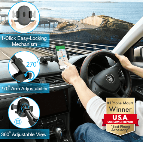 "#1 Universal Phone Mount - Winner ""Best Phone Accessory"" Black - Get 80% Off : No Surprises at Checkout!"