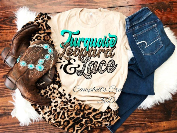 Turquoise, Leopard and Lace Tee
