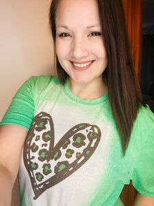 Green Leopard Heart Tee