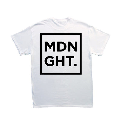MDNGHT T-Shirt (Black Print On White Tee) - Unearthed Sounds