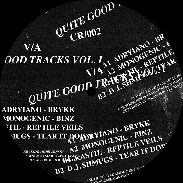 Various Artists - Quite Good Tracks Vol 1 , Vinyl - CESTRAW, Unearthed Sounds