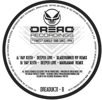 "Ray Keith - Deeper Love: Remixes [2 x 12"" VInyl] , Vinyl - Dread UK, Unearthed Sounds"
